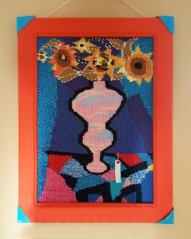 tienda tapices artesanales-tapiz jarrón hecho a mano-APACE Talavera